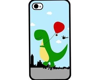 Phone Case - Happy Dino on Path of Destruction - Hard Case for iPhone 4, 4s, 5, 5s, 5c, SE, 6, 6 Plus, 7, 7 Plus - iPod 4, 5/6 - Galaxy