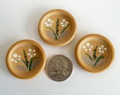 Vintage Wood Buttons - Hand-Painted Flowers