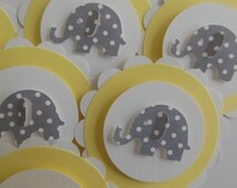Elephant Cupcake Toppers - Yellow and White with Gray Polka Dot Elephants - Gender Neutral - Baby Showers -Birthday Parties - Set of 6