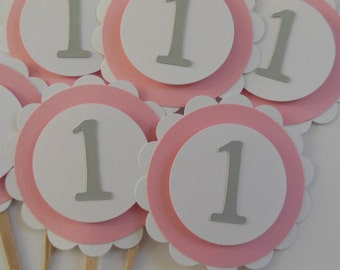 1st Birthday Cupcake Toppers - Pink, Gray and White - Girl Birthday Party Decorations - Set of 6
