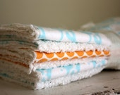 Chenille burp cloths for baby, orange and aqua, creamy white chenille unisex baby burpcloths, newborn  gift by the Paisley Moon on Etsy