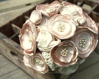 "Champagne bridal bouquet, Fabric flower wedding bouquet, 8"" alternative fabric flower bouquet"