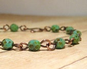Green and Copper Rustic Beaded Bracelet, Turquoise Green Rustic Jewelry, Boho Style, Stacking Bracelet