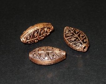 SALE: 3 Fine Leave Copper Beads 22x13mm
