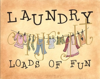 Laundry Print Loads of Fun  8 by 10 Primitive Folk Art Country Decor