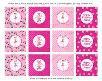 Printable Ballet Ballerina Birthday Cupcake Toppers