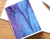 Marbled Paper Design Notebook no.5, Small Travel Notebook, Jotter, Mini Journal, Diary, Blue, Purple, Eco-Friendly
