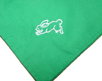 """Napkins with Embroidered Bunny  Set of 4 Kelly Green approximately 13"""" x 13"""""""