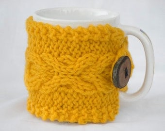 Buttercup Yellow Hand Knit Cabled Coffee Cup Cozy
