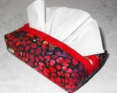 Red Berries. Boxy Fabric Tissue Holder. Purse Pocket Cozy Case. Vegan. Ecofriendly, Refill from Big Box. Red Batik Fabric.