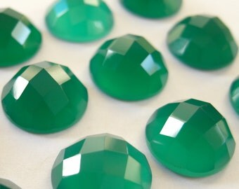 Gemstone Cabochons Green Onyx Checkerboard 8mm FOR TWO