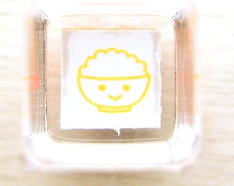 Japanese Rubber Stamp  Smiling Rice Bowl Japanese Food Stamp Mini Mini Size
