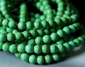 Turquoise apple green round 5mm, one 15-inch strand (item ID FD9686CL)