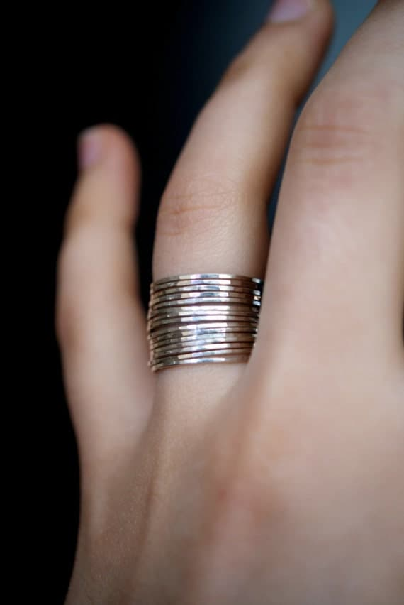 Sterling silver stacking rings, set of 15, delicate silver rings, hammered silver stack rings, sterling silver ring, large stacking ring set