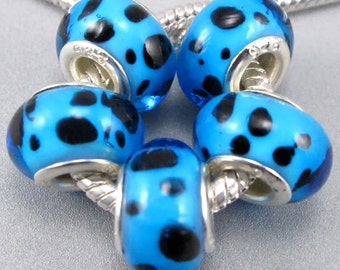 Silver Lampwork Glass Beads - Electric Blue Dalmation Spots, fits All European Style Add a Bead Jewelry Gpnd-049