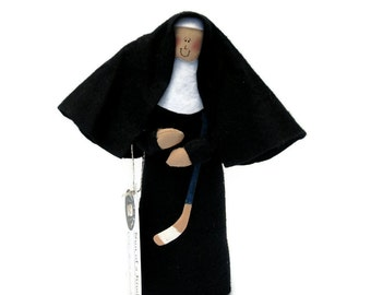 Funny Nun doll,  hockey playing woman, Catholic humor gift, hockey player, sports fan, hockey stick, hockey fan, Sister Maria Lemieux