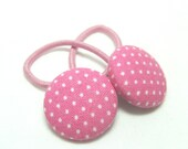 Ponytail holder hair ties - Sweet Pink Pindots - fabric covered button hair ties