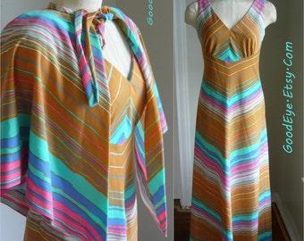 Vintage 70s CHEVRON Maxi Dress w Shawl CAPE/ size 6 8 10 Small / Bohemian Pastel Stripes /  Yves Jennet USA Maxi Floor Length