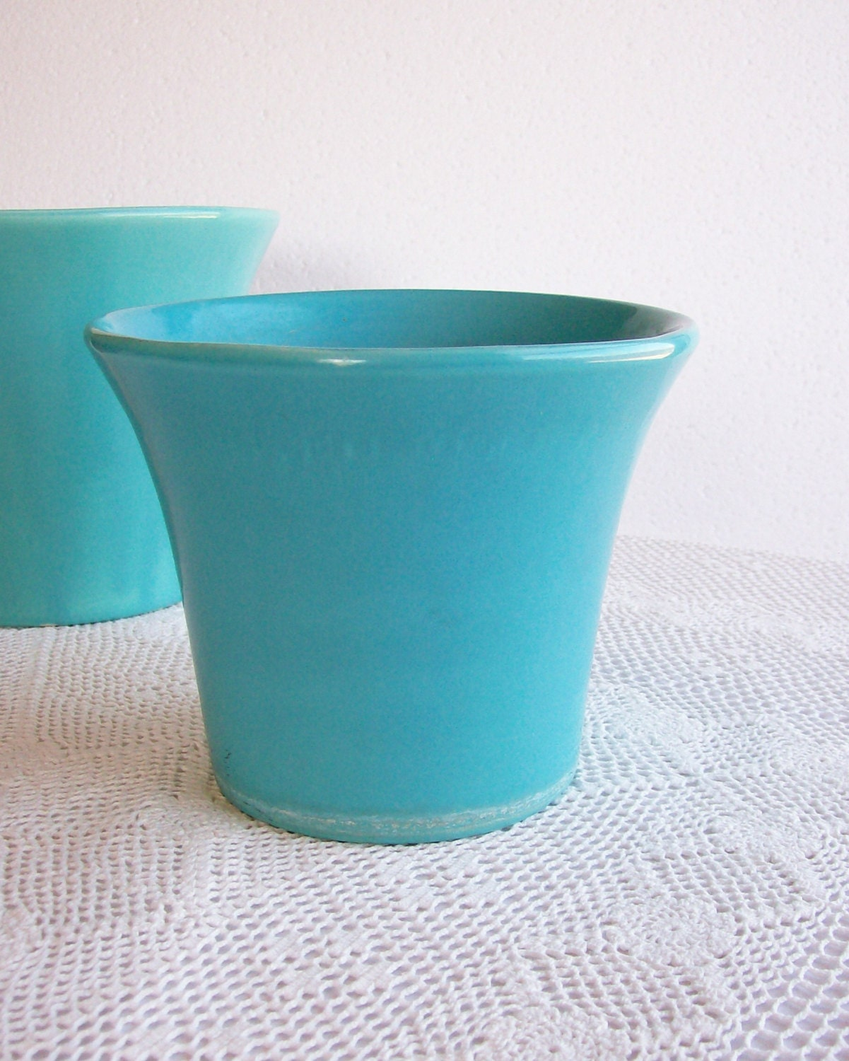 Vintage Bauer Pottery Spanish Flower Pot 6 Turquoise Blue Mid