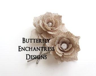 Burlap Hair Flowers, Wedding Hair Accessories, Rustic Burlap Wedding - 2 Blooming Rose Flower Bridal Bobby Hair Pins - Rhinestone Centers