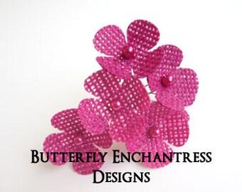 Burlap Wedding Flowers, Bridal Hair Accessories, Woodland Hair Flowers - 6 Fuchsia Burlap Hydrangea Hair Pins