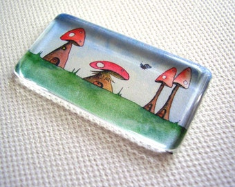 Mushroom Alley Glass Fridge or Kitchen Magnet