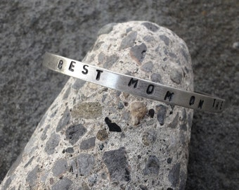 Best Mom On The Planet Sterling Silver Stamped Cuff Bracelet