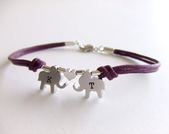Elephants Jewelry Bracelet - Silver Elephants - Personalized Letters - Girlfriend - Gift for Her - Love Bracelet - Valentines Day Gift