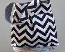 Black Diaper Bag White Chevron Diaper Bag - Six Pockets Attaches to Stroller 24 inch strap Key Fob