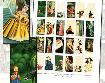 Grimm's Fairy Tales No. 2 domino digital collage sheet 1 x 2 inch 25mm x 50mm printable