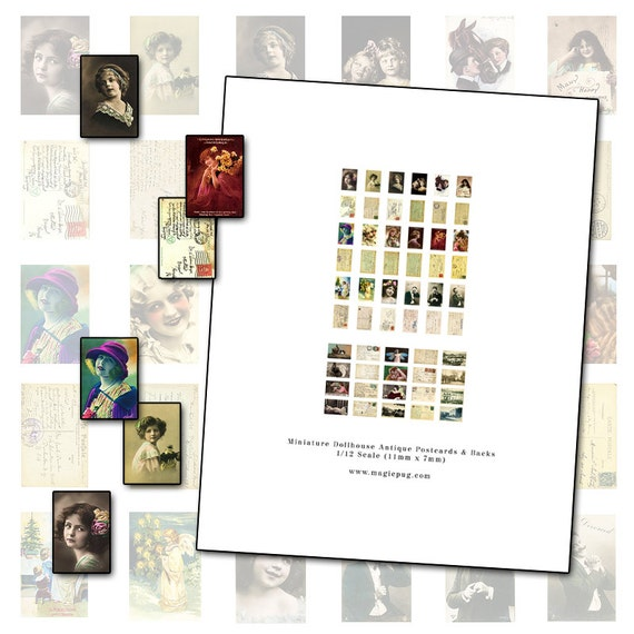 Miniature Dollhouse Postcards 1/12 scale digital collage printable sheet  11mm x 7mm 1:12 scale