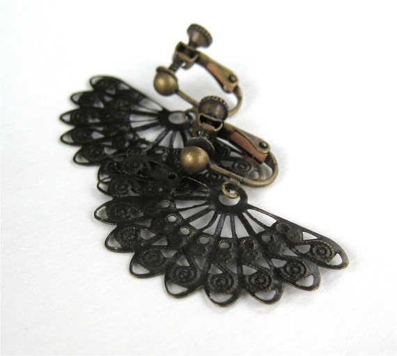 Brass Fan Clip On Earrings, Lacy Antiqued Brass Fan, Screw Back Clipons