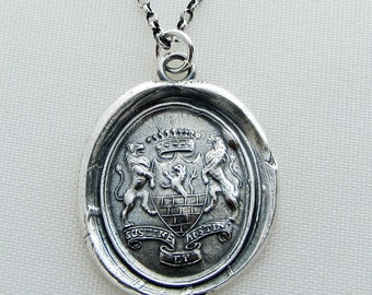 Wax Seal Medallion Long Necklace - I'm in control of my Destiny - Latin motto antique wax seal - silver jewelry for her