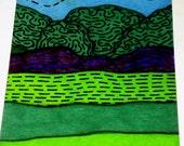 Original Drawing ACEO Green Welsh Hills Design