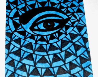 Original Drawing ACEO Blue and Black Eye Design