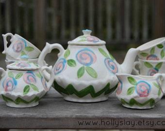 Child's tea set Chevron Tea Party Zig-Zag Little Girls China Tea Set, Handpainted, Custom, Personalized