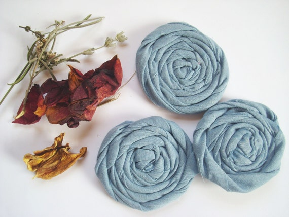 ONE DOLLAR Deals - 3 Large Blue Rolled Fabric Flowers -Sewn or Glued - PIF Hair Accessories, Jewelry, Ect.