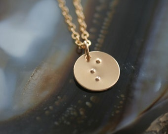 Simply Stated Braille Initial Necklace in 14K Gold Filled - Personalized 1/2 Inch Disc