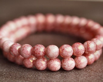 Pink Picasso  6mm Czech Glass Round Druk Bead : Full Strand