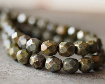 Olive Picasso 6mm Czech Glass Bead 6mm Faceted Round : 25 pc strand
