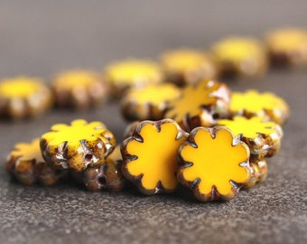 Sunshine Mix Czech Glass Picasso 9mm Flower Beads : 12 pc Yellow Cactus Flower