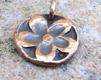 Copper Flower Pendant or Charm, Hammered, Oxidized, Rustic Jewelry