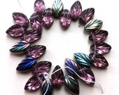 Purple Amethyst Leaf Beads Glass Czech Pressed Vitral reflective