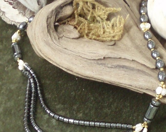 Hemitite and Pearl Necklace, Triple Strand Statement Bridal Necklace,Classic