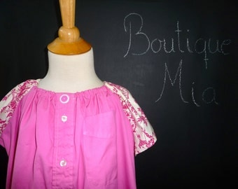 UPcycled and REcycled - Children Peasant Dress or Top - Will fit a size 4T up to 8 yr - by Boutique Mia - Ready To Ship
