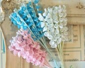 Sale / Vintage Millinery / Lily of the Valley Flower Sampler / Cotton / Three Bunches / Pink / Blue and Aged White