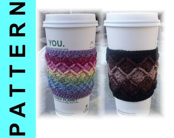 Instant Download: Crochet Pattern - 2 Versions of Bavarian Crochet Thread Coffee Cozies