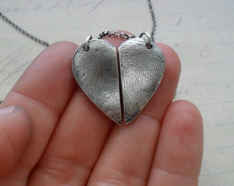 Fingerprint Necklace Set - 2 Necklaces - Each Half Heart in Fine Silver