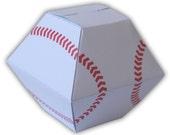 Baseball Gift Box Digital PDF Favor Party Printable Color Template