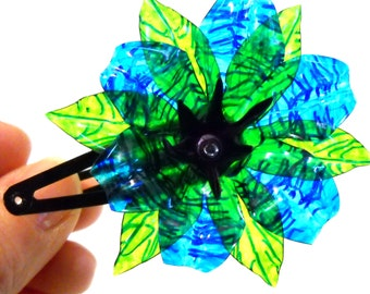 Upcycled Blue Fantasy Flower HAIR CLIP made of Plastic Water Bottles OOAK